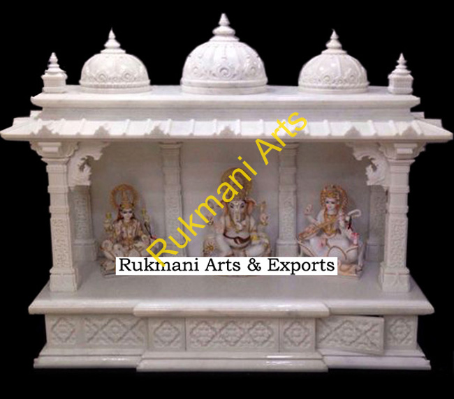 Marble Carved White Marble Temple / Mandir