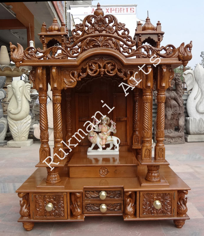 Code-66 Wooden Carved Teakwood Temple / Mandir, wooden Temple Wooden ...